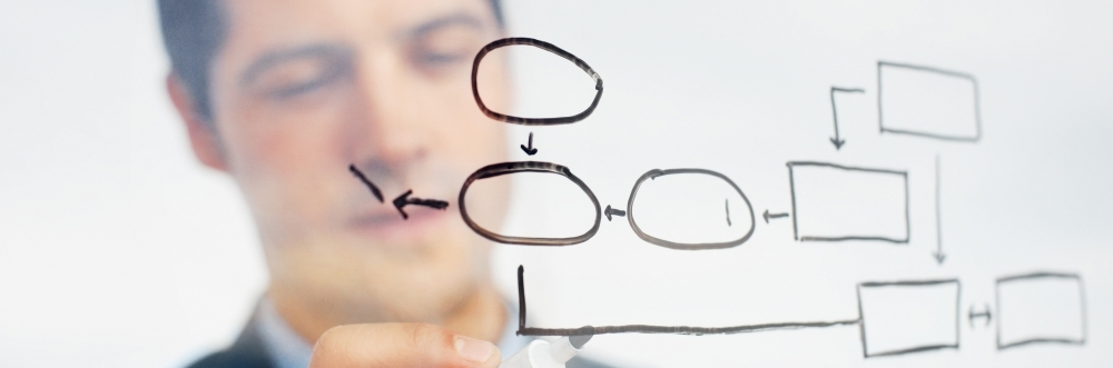 Business professional drawing a process diagram