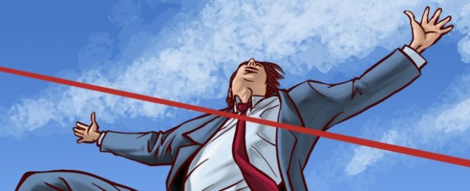 A cartoon businessman approaching the tape of a finish line
